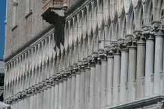 Venice, Palazzo Ducale, perspective of the columns stock images