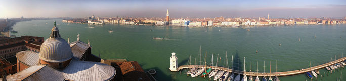Venice panorama. Picture taken from an high tower on the other side of the venice city, it is a composition of pictures added together royalty free stock images