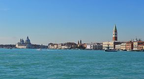 Venice. Panorama from the boat in a sunny day Stock Photo