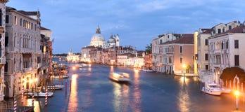 Venice panorama at night with Grand Canal and Basilica Santa Mar royalty free stock photography