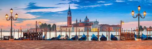 Venice Panorama. Panoramic image of Venice, Italy during sunrise royalty free stock photography