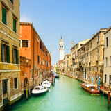 Venice panorama in San Giorgio dei Greci water canal and church campanile. Italy Royalty Free Stock Photo
