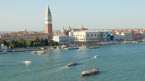 Venice`s view,Piazza San Marco and the Doges Palace in Venice, Italy, Europe. Venice panorama: St Mark`s Square , Piazza San Marco `la Piazza` or `The Square` stock image