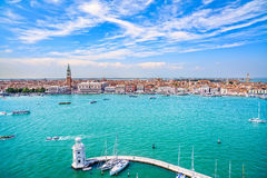 Venice panoramic aerial view, Piazza San Marco with Campanile an Royalty Free Stock Images