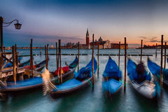 Venice. Parked gondolas on Piazza San Marco in Venice at sunset stock images