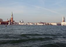 Venice 2019 photographed from the ferry. Venice panorama 2019 photographed from the ferry. Through the waves we see a part of the city stock photos