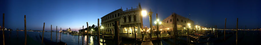Venice Piazza San Marco Night Panorama Stock Image