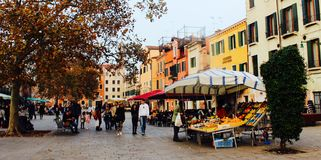 Venice Piazza. Venetian food stall in a Royalty Free Stock Photo