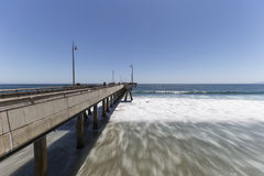 Venice Pier California with Motion Blur Water Royalty Free Stock Images