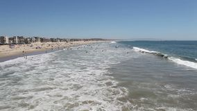 Venice Pier Surf View. Editorial view of the surf from at the famous Venice Beach Pier in Southern California stock video