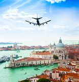 Venice and plane Stock Image