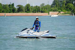 Venice Police Officer on Jet Ski Royalty Free Stock Images