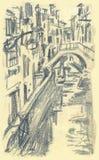 Venice, Ponte Mocenigo. Hand drawn picture of Ponte Mocenigo, Venice Royalty Free Stock Images