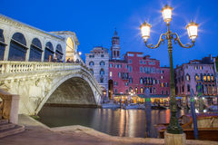 Venice -  Ponte Rialto in evening dusk Stock Photos