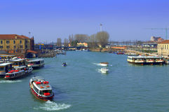 Venice water bus stop Royalty Free Stock Photo