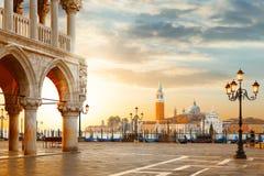 Free Venice Postcard. World Famous Venice Landmarks. St. Mark`s San Marco Square With San Giorgio Maggiore Church During Amazing Sunri Stock Image - 112223731