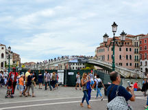 Venice promenade with tourists in sunny day, Venice, Italy Royalty Free Stock Photo