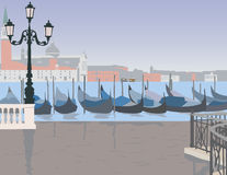 Venice after the rain. The Grand canal with gondolas Royalty Free Stock Photos
