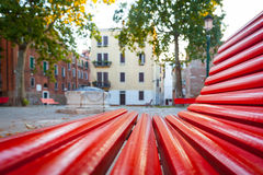 Venice from a red bench Stock Images