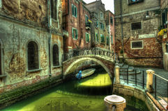Venice. Reflections and surreal atmosphere of the canals of  venice Royalty Free Stock Photography