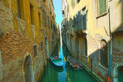 Venice. Reflections and surreal atmosphere of the canals of  venice Stock Photo