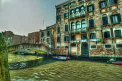 Venice. Reflections and surreal atmosphere of the canals of  venice Stock Images