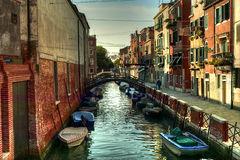 Venice. Reflections and surreal atmosphere of the canals of  venice Royalty Free Stock Photos