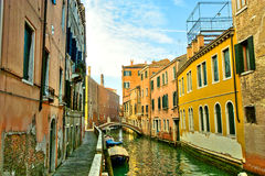 Venice. Reflections and surreal atmosphere of the canals of  venice Royalty Free Stock Photo