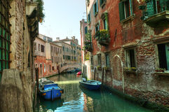 Venice. Reflections and surreal atmosphere of the canals of  venice Stock Photos