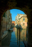 Venice. Reflections and surreal atmosphere of the canals of  venice Royalty Free Stock Image