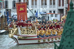 Venice Regata Storica. Venice, IT, September 2: Historical gondola of 16th century design opens the 2012 Venezia Regata Storica. The Regata Storica is the Royalty Free Stock Photography