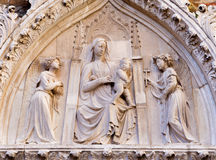 Venice - Relief of Madonna on portal of Church Santa Maria Gloriosa dei Frari. Venice - Relief of Madonna on the portal of Church Santa Maria Gloriosa dei Frari Royalty Free Stock Photo