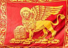 Venice Republic Flag. Old Venice Republic Flag with Saint Mark Lion as background royalty free stock images