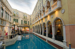 Venice Resort,Macao, China:. Venice Macao people resort blue sky and architectural landscape Stock Photo