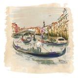 Venice-Rialto-BigGandola-watercolor Royalty Free Stock Photography