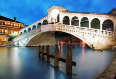 Venice - Rialto bridge at dusk, Italy Stock Photo