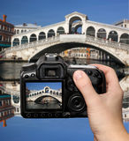 Venice with Rialto bridge in Italy Stock Photo