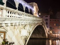 Venice, rialto bridge night Royalty Free Stock Photography
