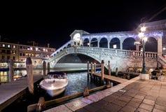 Venice Rialto Bridge. Night cityscape panorama. Italy, Venice Rialto Bridge. Night cityscape panorama royalty free stock images