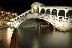 Venice Rialto Bridge at night Stock Photo