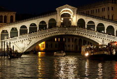 Venice, Rialto bridge at night Royalty Free Stock Image