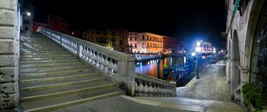 Venice, Rialto Bridge stairs at night, Italy Royalty Free Stock Photos