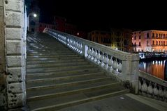 Venice, Rialto Bridge stairs at night, Italy Stock Images