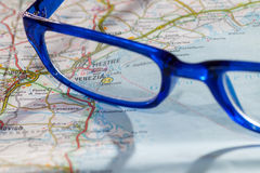 Venice roadmap. Photo of road map for venice with blue glasses Stock Photos