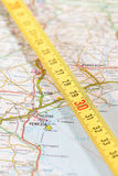 Venice roadmap. Photo of road map of venice with measuring stick Stock Image
