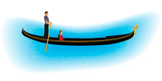 Venice romantic gondolier carries a woman in a gondola. Italian man profession for tourists. Royalty Free Stock Images