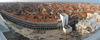 Venice Roofs - City Panorama. 180° panorama photo of the roofs of venice and the Piazza San Marco from the Campanille Tower looking north at late afternoon royalty free stock image