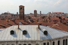 Venice roofs and some bell towers seen from above. Venice roofs in Italy and some bell towers seen from above Royalty Free Stock Images