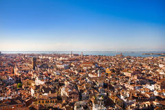 Venice rooftops. Panoramic view of rooftops of Venice, Italy as seen from Campanile di San Marco stock photos