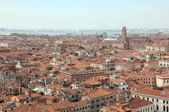 Venice Rooftops. View of Venice from St Marks Campanile (Il Campanile di San Marco) located in the Piazza San Marco. It is one of the most recognizable symbols Royalty Free Stock Photo